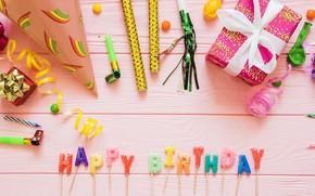 Картинка праздник, подарок, свечи, день рождение