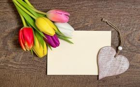 Обои heart, love, colorful, wood, тюльпаны, romantic, tulips, романтика, с праздником!, сердце, букет
