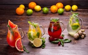 Обои мята, клубника, напитки, лимонад, грейпфрут, фреш, имбирь, фрукты и ягоды, лимон