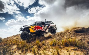 Обои Небо, Спорт, Скорость, Гонка, Peugeot, Red Bull, Бок, Rally, Ралли, Sport, RedBull, DKR, 3008, Peugeot ...