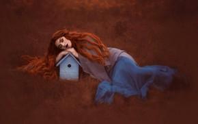 Картинка трава, настроение, сон, ситуация, скворечник, рыжая, рыжеволосая, длинные волосы, спящая девушка