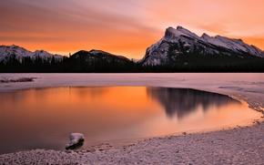 Картинка закат, горы, зима