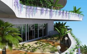 Картинка дизайн, растительность, фонари, балкон, Eco Building