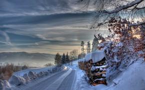 Обои зима, дрова, снег, дорога