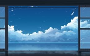 Картинка море, небо, облака, колокольчик, by K.Hati