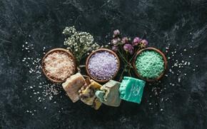 Картинка цветы, спа, Мыло, морская соль