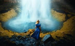 Картинка девушка, водопад, платье, Ronny Garcia, Beautiful dream