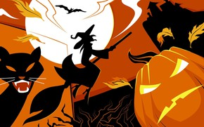 Картинка vector, Halloween, moon, house, bat, holiday, pumpkin, witch, scary, spooky, scary house, vector art, flying …