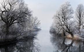 Картинка зима, туман, река