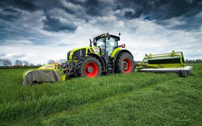Обои трава, Claas Axion 950, поле, небо, трактор