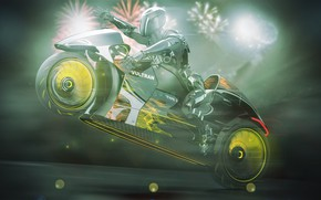 Картинка дизайн, стиль, фон, concept, мотоцикл, шлем, байк, мотоциклист, Lee Rosario