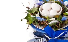 Картинка цветы, праздник, яйца, весна, пасха, декор, мускари, Easter, Holidays, egg