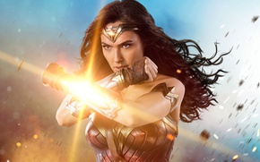 Обои cinema, gauntlet, armor, Diana, brunette, Themyscira, movie, film, Wonder Woman, strong, DC Comics, WWII, Gal ...