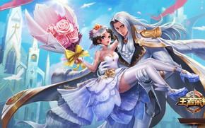 Картинка цветы, игра, розы, арт, game, валентинов день, king of glory