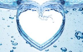 Картинка вода, брызги, узор, сердце