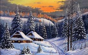 Картинка зима, дорога, лес, небо, снег, дома