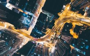 Обои дорога, свет, ночь, город, огни, дома, Китай, вниз, вид сверху
