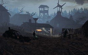 Картинка лес, лодка, постройки, поселение, Village
