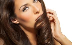 Картинка взгляд, девушка, лицо, ресницы, модель, рука, макияж, прическа, длинные волосы, фотосессия, карие глаза, Katja de …