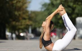 Картинка лето, девушка, гибкость, йога, ножки
