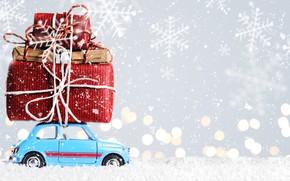 Картинка car, снег, Новый Год, Рождество, подарки, Christmas, snow, Merry Christmas, Xmas, decoration, gifts, holiday celebration