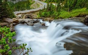 Картинка дорога, природа, водопад