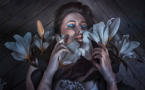 Картинка девушка, цветы, лицо, волосы, макияж, милашка
