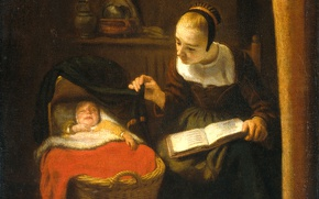 Картинка масло, картина, холст, Николас Мас, Молодая Женщина у Кроватки