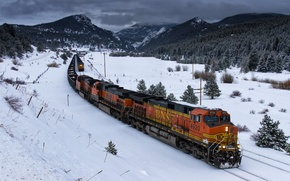 Обои поезд, зима, железная дорога