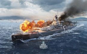 Картинка огонь, корабль, artwork, World of Warships, admiral graf