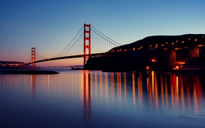 Обои мост Золотые ворота, Калифорния, сумерки, Сан-Франциско, отражение, вечер, огни