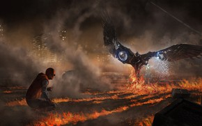 Обои Spider-Man: Homecoming, арт, схватка, искры, комикс, дым, рисунок, ночь, MARVEL, Spider-Man, огонь, пламя, Человек-паук: Возвращение ...