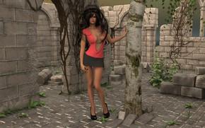 Картинка девушка, дерево, стены