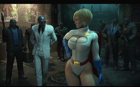 Картинка грудь, девушка, ноги, костюм, бандиты, плащ, dc comics, DC Comics, black mask, Roman Sionis, Power ...