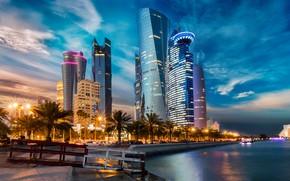 Картинка water, skyscraper, Qatar, Doha, metropolis