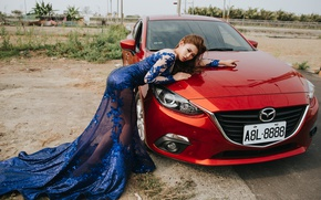 Картинка авто, девушка, поза, платье