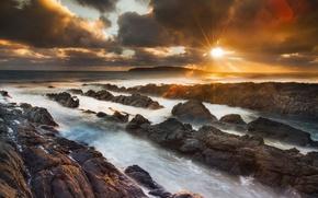 Обои море, небо, солнце, природа, блики, камни, скалы