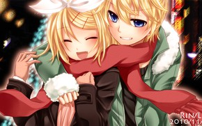 Картинка девушка, парень, двое, Vocaloid, Вокалоид, Кагомине Лен, Кагомине Рин