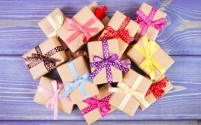 Картинка лента, подарки, бант, wood, коробки, gifts