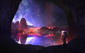 Обои небо, скалы, планета, звёзды, космонавты, discovery