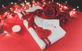 Картинка red, love, romantic, hearts, valentine's day, gift, roses, красные розы