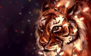 Картинка тигр, гирлянда, by AlaxendrA