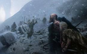 Картинка sword, game, demigod, blizzard, weapon, Kratos, God of War, snow, man, boy, ken, blade, bow, …
