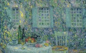 Картинка дом, картина, двор, Henri Le Sedaner, Анри Ле Сиданэ, Стол. Солнце на Листьях. Жерберуа