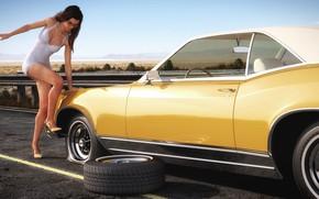 Обои женщина, автомобиль, ремонт, Buick Riviera, Flat tire in the desert