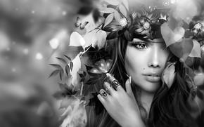Обои цветы, лицо, девушка, родинка