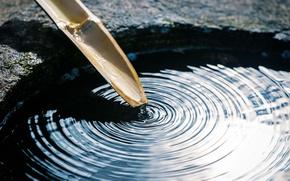 Картинка макро, спокойствие, бамбук, стебель, гармония, боке, равновесие, wallpaper., резервуар, чистая вода, круги на воде, каменная ...