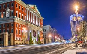 Картинка зима, снег, ночь, огни, улица, Москва, Russia, Moscow