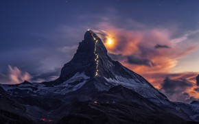 Обои облака, небо, Маттерхорн, ночь, огни, луна, вершина 4478 метров, ветер, горы, снег, свет, Пеннинские Альпы, ...