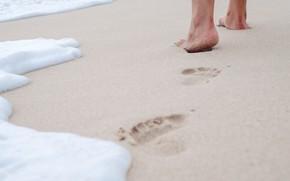Картинка песок, море, волны, пляж, лето, следы, отдых, ноги, summer, beach, каникулы, sea, sand, wave, footprints
